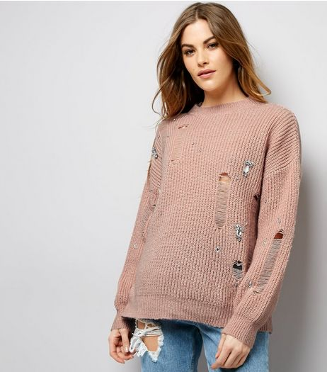 Pink Embellished Ladder Knit Jumper | New Look