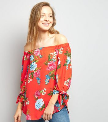 Red Floral Print Tie Sleeve Bardot Neck Top