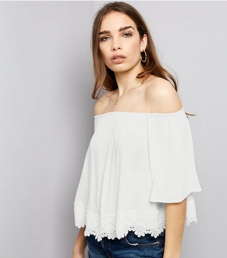 White Crochet Lace Hem Bardot Neck Top | New Look