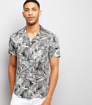 White Palm Print Short Sleeve Shirt
