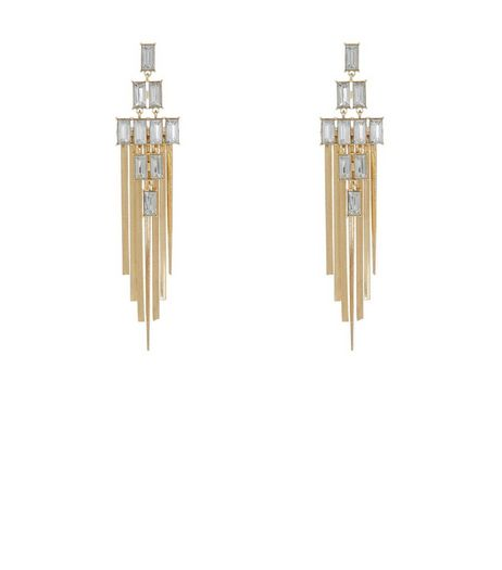 Gold Crystal Tassel Drop Chandelier Earrings | New Look