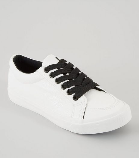 Teens White Contrast Lace Up Trainers | New Look