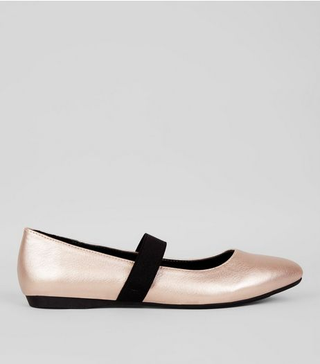 Teens Rose Gold Elastic Strap Pointed Flats | New Look
