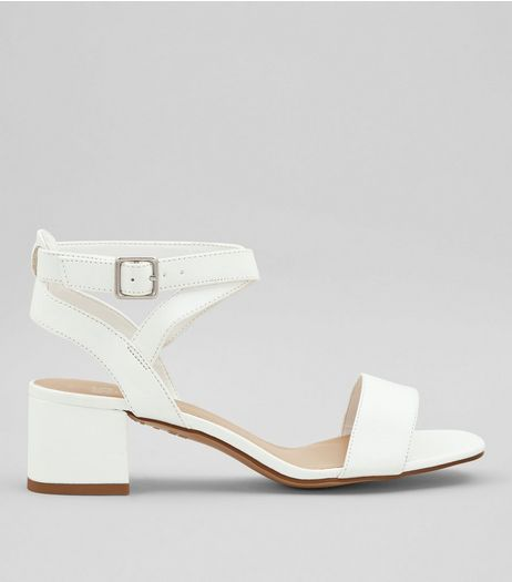Teens White Low Block Heels | New Look
