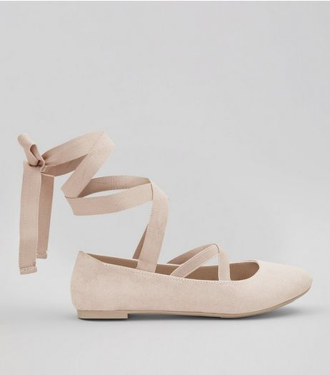 Teens Shell Pink Suedette Ankle Tie Ballet Pumps | New Look
