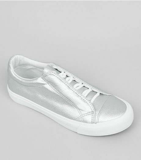 Teens Silver Concealed Lace Trainers | New Look