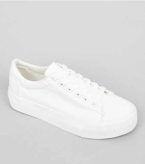 Teens White Flatform Trainers | New Look