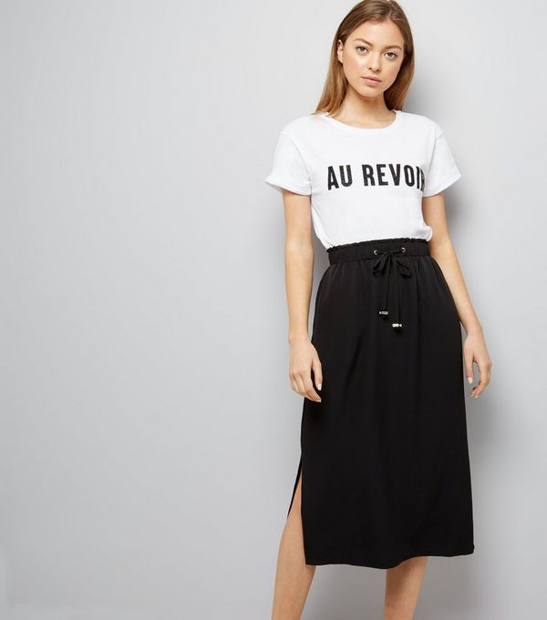 Black Drawstring Waist Split Side Midi Skirt