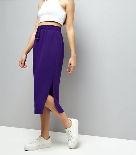 Purple Tie Waist Midi Skirt | New Look