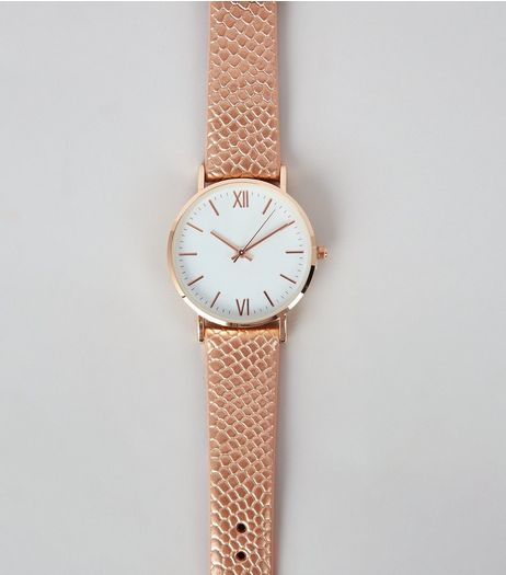 Rose Gold Croc Texture Strap Watch | New Look