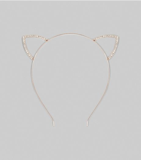 Rose Gold Crystal Cat Ears | New Look