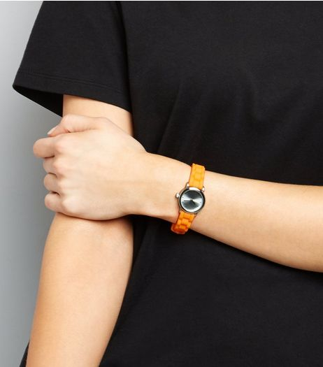 Neon Bright Orange Mini Watch  | New Look