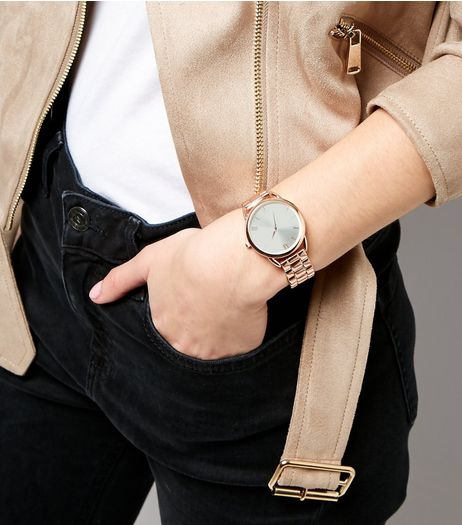 Rose Gold Link Chain Watch | New Look