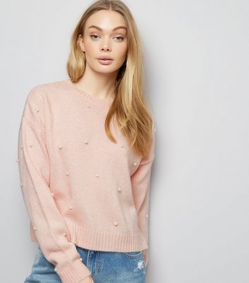 Pink Pearl Embellished Cropped Jumper