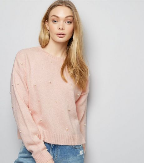 Pink Pearl Embellished Cropped Jumper | New Look