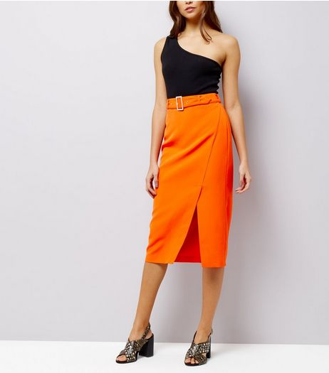 Orange Belted Wrap Front Midi Skirt | New Look