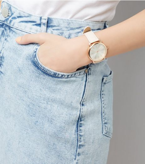 Shell Pink Metallic Trim Watch | New Look
