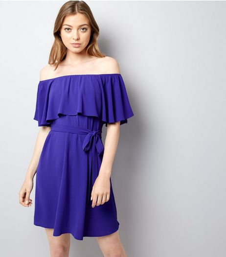 Purple Frill Layered Bardot Neck Dress | New Look