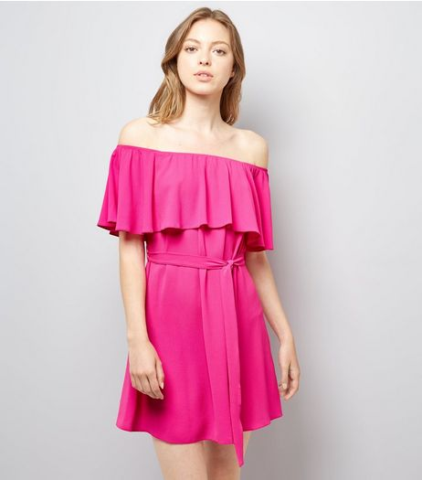 Pink Frill Layered Bardot Neck Dress | New Look