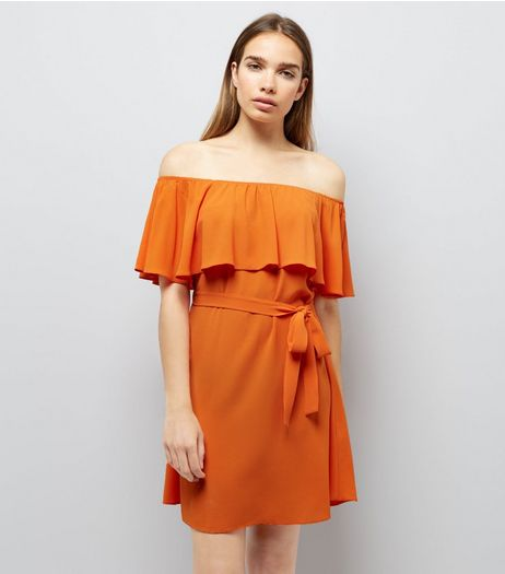 Orange Frill Layered Bardot Neck Dress | New Look