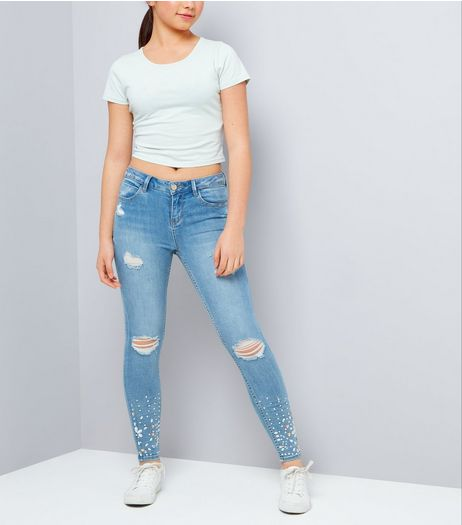 Teens Blue Ripped Jewelled Hem Skinny Jeans | New Look