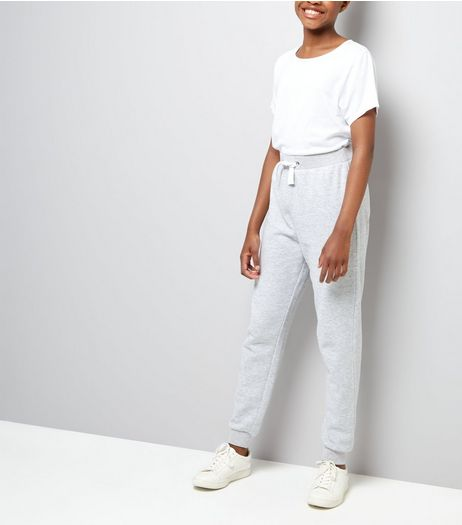 Teens Grey Tie Waist Joggers  | New Look
