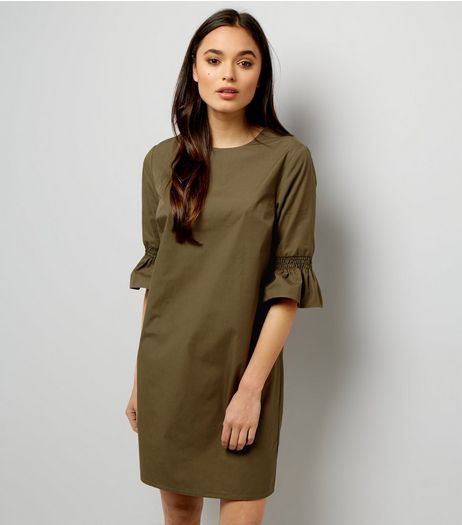 Khaki Shirred Bell Sleeve Tunic Dress | New Look