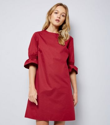 Burgundy Bell Sleeve Tunic Dress