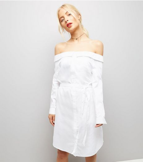 White Bardot Neck Shirt Dress  | New Look