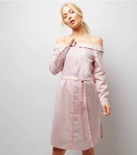 Shell Pink Bardot Neck Shirt Dress | New Look