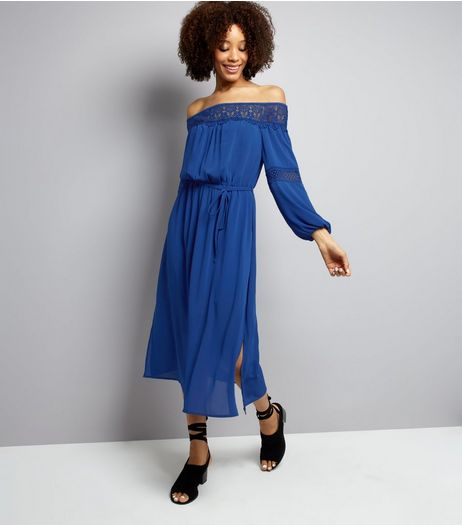 Blue Crochet Lace Trim Bardot Neck Midi Dress  | New Look