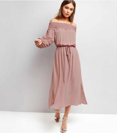 Shell Pink Crochet Lace Trim Bardot Neck Dress  | New Look