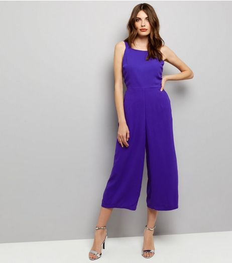 Purple Tie Back Wide Leg Jumpsuit  | New Look