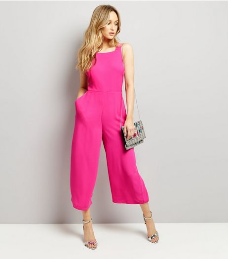 Bright Pink Tie Back Wide Leg Jumpsuit  | New Look