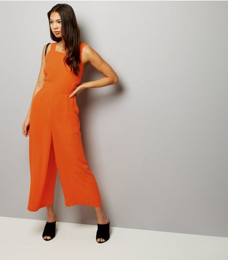 Bright Orange Tie Back Wide Leg Jumpsuit  | New Look