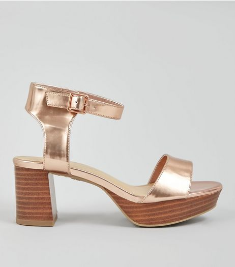 Teens Rose Gold Metallic Block Heeled Sandals  | New Look