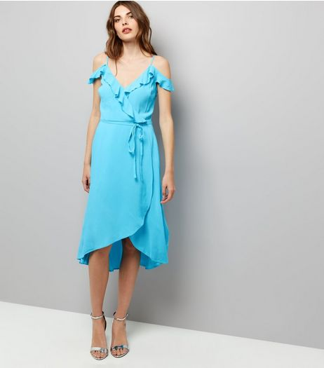 Blue Frill Trim Wrap Front Dress  | New Look