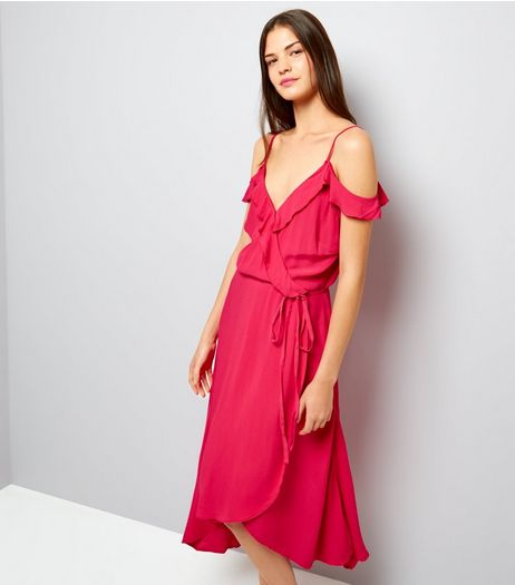 Bright Pink Frill Trim Wrap Front Midi Dress | New Look