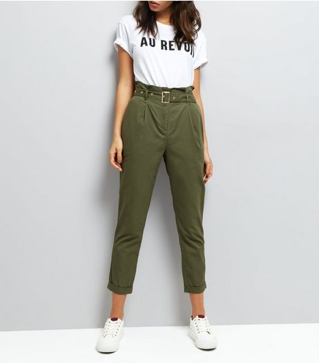 Khaki Slim Leg Belt Waist Slim Leg Chinos | New Look