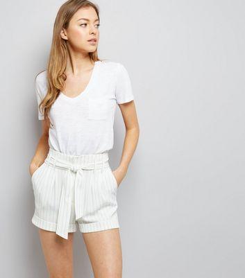 White Pinstripe Tie Waist Shorts