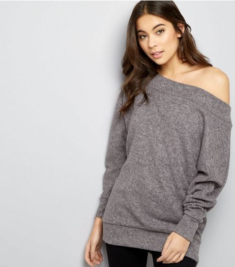 Grey Bardot Neck Jumper  | New Look