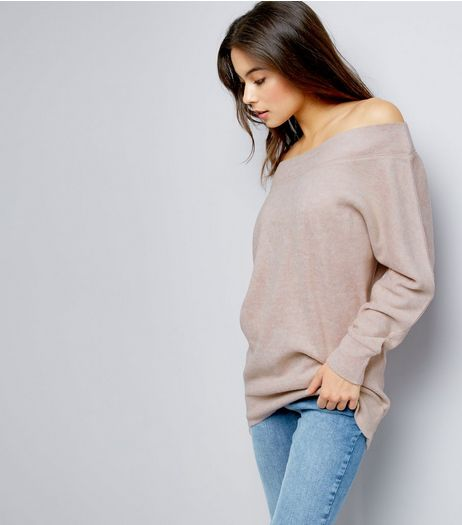 Shell Pink Bardot Neck Jumper  | New Look
