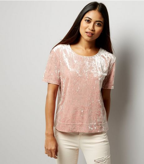 Petite Pink Crushed Velvet T-Shirt | New Look