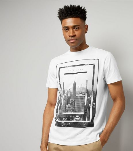 White New York Skyline Print T-Shirt | New Look