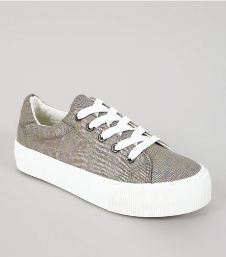 Grey Iridescent Chunky Sole Lace Up Trainers | New Look