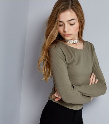 Teens Khaki Lattice Side Long Sleeve Top | New Look