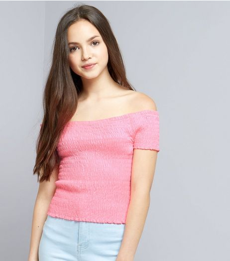 Teens Pink Shirred Frill Edge Bardot Neck Top | New Look