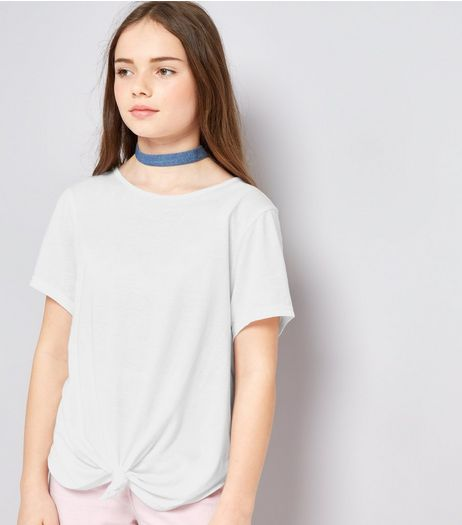 Teens White Knot Front T-Shirt | New Look