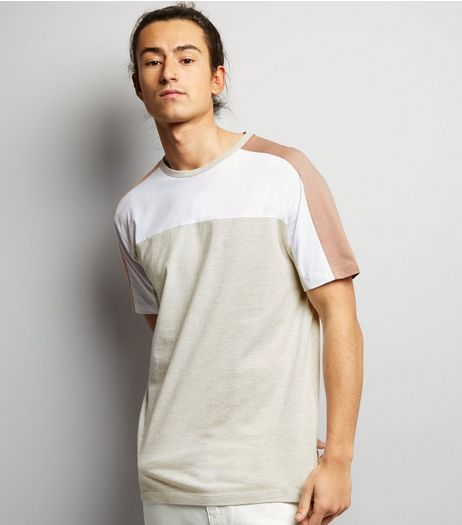 Cream Colour Block T-Shirt | New Look