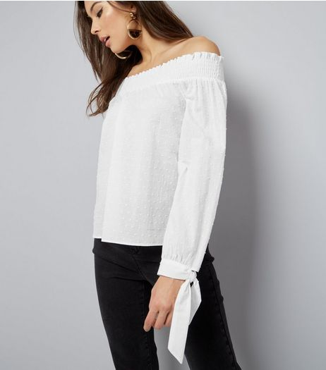 White Cotton Tie Sleeve Shirred Bardot Neck Top  | New Look